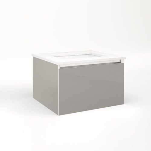"""Cartesian 24-1/8"""" X 15"""" X 21-3/4"""" Single Drawer Vanity In Silver Screen With Slow-close Plumbing Drawer and Night Light In 5000k Temperature (cool Light)"""
