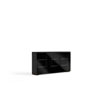 Salamander DesignsBlack beauty's ultra-sleek techno aesthetic with smoked glass doors and black glass top.