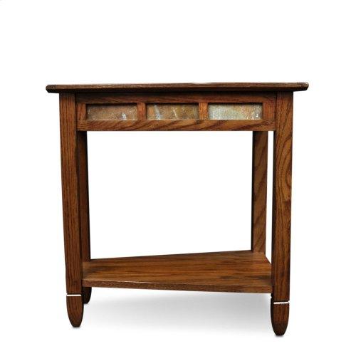 Rustic Oak Slate Tile Wedge Side Table 10056