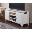 Nantucket 50 inch Entertainment Console with Adjustable Shelves and Charging Station in White Product Image