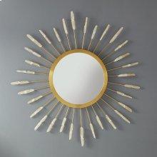 Solar Mirror, Gold Leaf Details With Hand Applied Quartz Crystal.