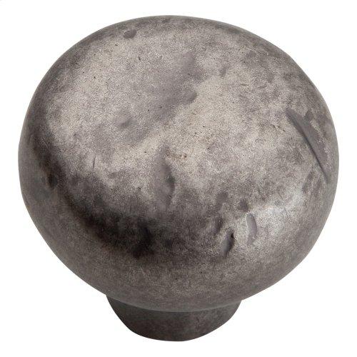 Distressed Round Knob 1 3/8 Inch - Pewter