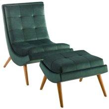 Ramp Upholstered Performance Velvet Lounge Chair and Ottoman Set in Green