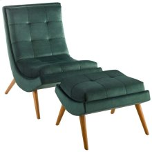 Ramp Upholstered Performance Velvet Lounge Chair and Ottoman Set in Green