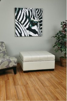 Detour Storage Ottoman With Tray In Cream Bonded Leather