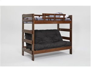 Heartland Futon Bunk Bed with Metal Deck with options: Chocolate, Futon Mattress Included, Twin Trundle