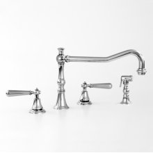 350 Series Widespread Kitchen Faucet and Metal Hand spray shown with Loire Handle (available with most Sigma handles)