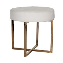 White Linen Round Stool With Brass Base