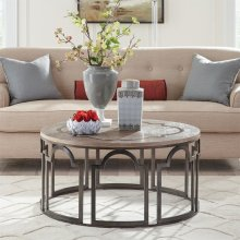 Estelle - Round Coffee Table - Washed Gray Finish
