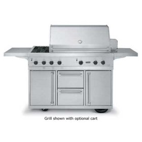 """53"""" Ultra-Premium T-Series Grill with TruSear & Side Burners - VGIQ (53"""" wide with two standard 25,000 BTU burners, one 30,000 TruSear infrared burner and double side burners (Natural Gas))"""