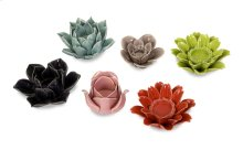 Leona Assorted Flower Candleholders - Set of 6