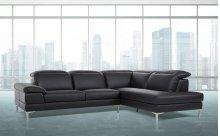 Divani Casa Carnation - Modern Black Eco-Leather Sectional Sofa