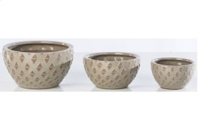 Ecru Ternion Cachepot - Set of 3