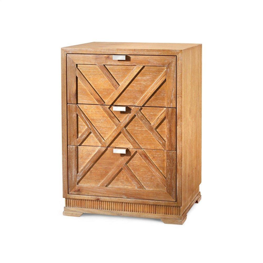 Cara 3-Drawer Side Table, Natural