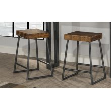 Emerson Manufactured Live Edge Square Non-swivel Counter Stool - Natural Sheesham