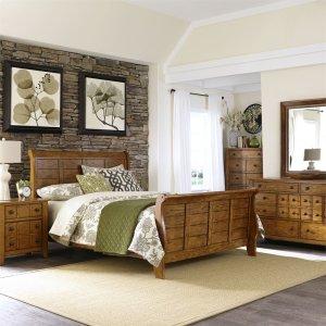 LIBERTY FURNITURE INDUSTRIESQueen Sleigh Bed, Dresser & Mirror, Chest, N/S