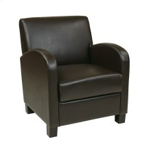 Club Chair In Espresso Bonded Leather With Espresso Legs