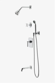 "Ludlow Pressure Balance Shower Package with 2 3/4"" Shower Head, Handshower, Tub Spout and Diverter Cross Handle STYLE: LDSP13"
