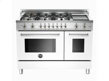48 6-Burner + Griddle, Electric Self-Clean Double Oven White