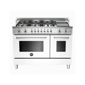 48 6-Burner + Griddle, Electric Self-Clean Double Oven White - WHITE