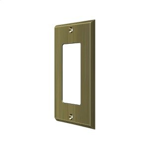 Switch Plate, Single Rocker - Antique Brass