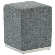 Hugo Single Ottoman in Grey Blend and Silver
