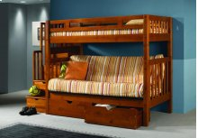 Twin/ Futon Tall Mission Stairway Bunkbed