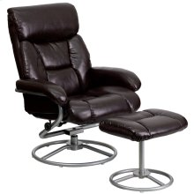 Contemporary Multi-Position Recliner and Ottoman with Metal Base in Brown Leather