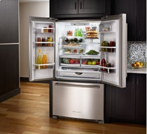 25 Cu. Ft. 36-Width Standard Depth French Door Refrigerator with Interior Dispense - Black