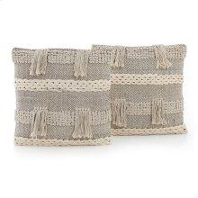"""20x20"""" Size Braided Fringe Pillow, Set of 2"""