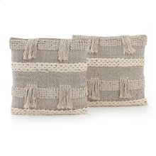 Square Style Braided Fringe Pillow, Set of 2