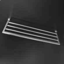 Wall-mount towel shelf made of stainless steel.