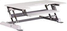 HERCULES Series 36.25''W White Sit / Stand Height Adjustable Desk with Height Lock Feature and Keyboard Tray