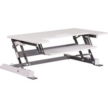 HERCULES Series 36.25''W White Sit \/ Stand Height Adjustable Ergonomic Desk with Height Lock Feature and Keyboard Tray