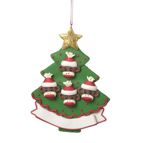 Monkey Family of 4 Personalizable Ornament.