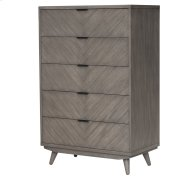 Piero Chevron Chest with 5 Drawers, Weathered Gray Product Image
