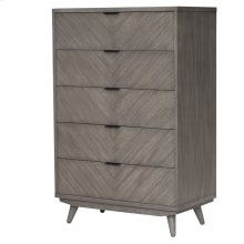 Piero Chevron Chest with 5 Drawers, Weathered Gray