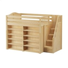 High Loft w/ Staircase & 2 x 5 Shelf Bookcases : Full : Natural : Curved