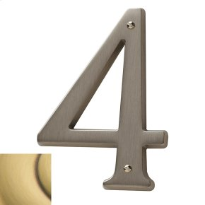 Satin Brass and Brown House Number - 4