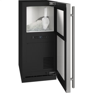 "U-Line1 Class 15"" Nugget Ice Machine With Stainless Solid Finish And Field Reversible Door Swing, Pump Included (115 Volts / 60 Hz)"