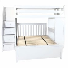 All in One Staircase Loft Bed Study   Full Bed White