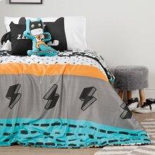 Superheroes Comforter Set \u0026 Throw Pillows - Black and White