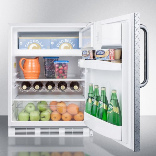 ADA Compliant Built-in Undercounter Refrigerator-freezer for Residential Use, Cycle Defrost W/deluxe Interior, Diamond Plate Door, Tb Handle, and White Cabinet