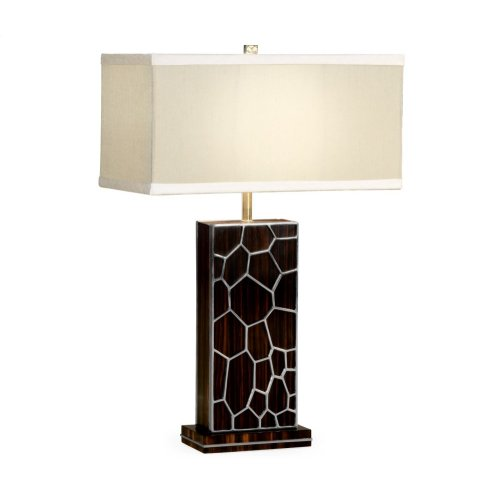 Macassar Ebony Table Lamp with White Brass Inlay