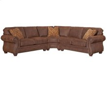 "Laramie Sectional in Rust Color Microfiber.  Slight damage: 1"" scrape on back side"