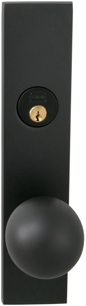 Exterior Modern Mortise Entrance Knob Lockset with Plates in (US10B Oil-rubbed Bronze, Lacquered)