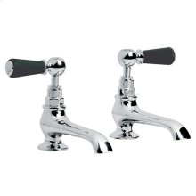 Classic black lever basin pillar taps with long nose (1 pair)