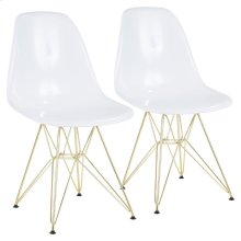 Brady Chair - Set Of 2 - Gold Metal, White Abs
