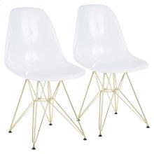 Brady Chair - Set Of 2 - Gold Metal, White Abs
