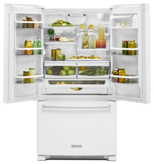 25 Cu. Ft. 36-Width Standard Depth French Door Refrigerator with Interior Dispense - White